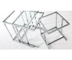 Mesas auxiliares nido acero y cristal