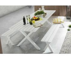 Conjunto terraza bancos lamas blanco 240x90
