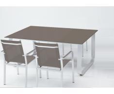 Mesa aluminio cristal taupe Esparta