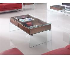 Mesa centro walnut cristal madera