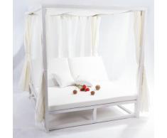 Cama balinesa cortinas aluminio blanco