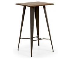 Mesa alta tolix bistro grafito madera 60x60