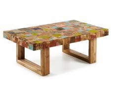 Mesa centro mosaico madera multicolor