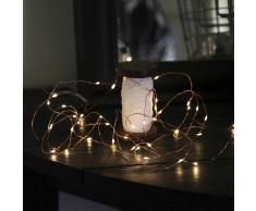 Star Trading Guirnalda de luces LED Dew Drop batería 4 m, alambre cobre
