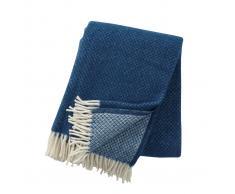 Klippan Yllefabrik Manta de lana Vega azul petróleo