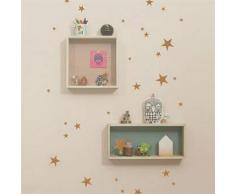 Ferm Living Vinilo decorativo pared Mini Stars cobre