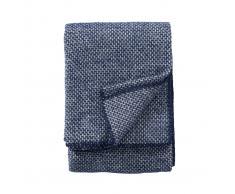 Klippan Yllefabrik Manta de lana Domino Estate blue (azul)