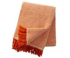 Klippan Yllefabrik Manta de lana Tango naranja-blanco