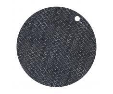 OYOY 2 Manteles individuales redondos OYOY negro, puntos blancos