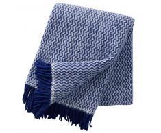 Klippan Yllefabrik Manta de lana Tango azul-blanco