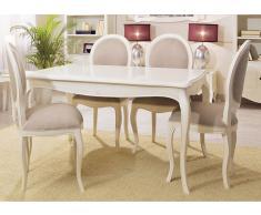 Mesa de comedor extensible blanca Vintage París