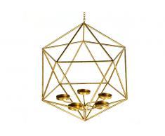 Lampara techo candelabro metal dorado II