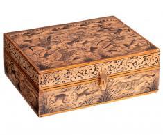 Caja de madera de la India con incrustaciones.