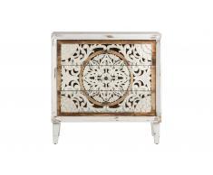 Comoda vintage Calcuta 3 cajones tallada en blanco y madera