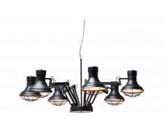 Lámpara de techo negra industrial Araña
