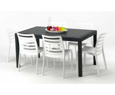 Conjunto mesa y sillas Polyrattan jardin bar exterior rectangular a...