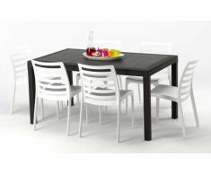 Conjunto mesa y sillas Polyrattan jardin bar exterior rectangular m...