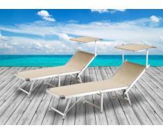 2 Tumbonas de playa plegables aluminio parasol piscina GABICCE