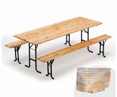 Conjunto mesa bancos de madera fiesta ferias 220x80 cm stock 10 pz