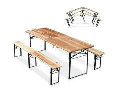 Conjunto mesa y bancos plegables de madera fiesta cerveza exterior ...