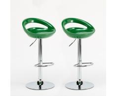 Pareja 2 taburetes de bar y cocina verde Cromo