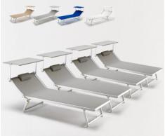 4 Tumbonas de playa grandes profesionales aluminio parasol piscina ...