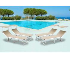 20 Tumbonas de playa plegables aluminio parasol piscina GABICCE