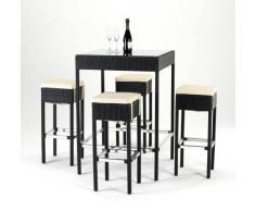 Conjunto mesa y taburetes Polyrattan cristal jardin bar exterior cu...