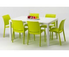 Conjunto mesa rectangular y sillas Polyrattan jardin bar exterior r...