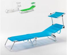 Cama de playa plegable tumbona portatil aluminio piscina parasol uv...