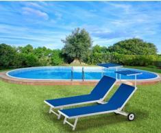 2 Tumbonas de playa con ruedas aluminio parasol piscina ALABAMA