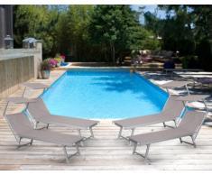 4 Tumbonas de playa aluminio parasol piscina SANTORINI Limited