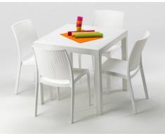 Conjunto mesa y sillas Polyrattan jardin bar exterior cuadrado blan...