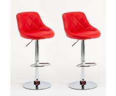 Taburetes de bar pareja de cuero sintético rojo que viven modelo gi...
