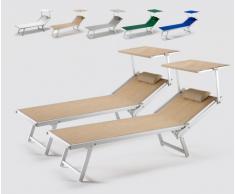 2 Tumbonas de playa profesionales aluminio parasol jardin piscina I...