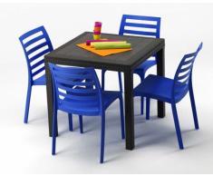 Conjunto mesa y sillas Polyrattan jardin bar exterior cuadrado marr...
