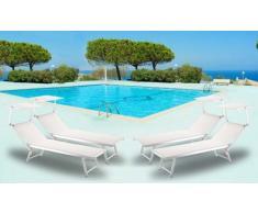 4 Tumbonas de playa aluminio parasol jardin piscina SANTORINI