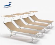 20 Tumbonas de playa aluminio parasol jardin piscina SANTORINI