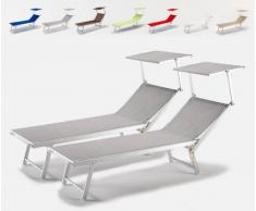 2 Tumbonas de playa aluminio parasol jardin piscina SANTORINI