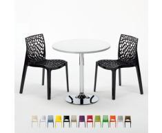 Mesa pequeña redonda blanco con 2 sillas color bar cafeteria