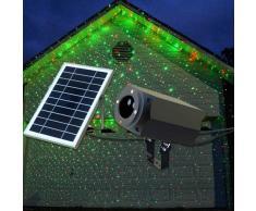 Proyector LED Láser fachada NAVIDAD con Panel Solar y Control Remoto