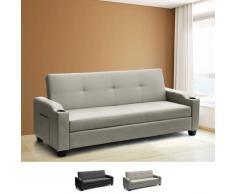 2 plazas sofá cama en la piel artificial respaldo reclinable y cont...