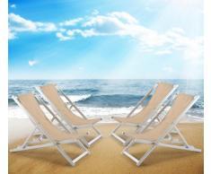 Sillas de playa plegables aluminio portatiles piscina RICCIONE 4 pz