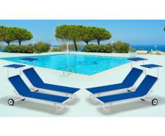 4 Tumbonas de playa con ruedas aluminio parasol piscina ALABAMA