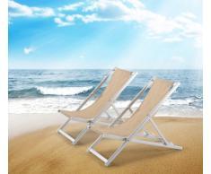 Sillas de playa plegables aluminio portatiles piscina RICCIONE 2 pz