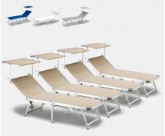 4 Tumbonas de playa plegables aluminio parasol piscina GABICCE