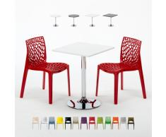 Mesa pequeña con 2 sillas color polipropileno set interior bar Gran...