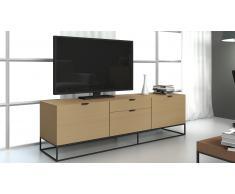 Mueble TV de diseño color roble pies de metal - Kufstein