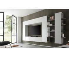 Gran mueble TV lacado blanco modulable - Teelyn