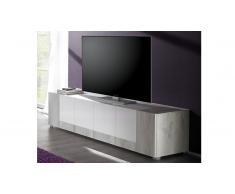 Mueble TV 4 puertas de madera clarita y lacada blanca Mars